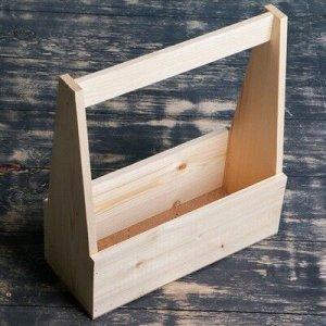 """Кашпо деревянное 27?11.5?9(30.5) см """"Таёжный костёр"""", с ручкой, натуральный"""
