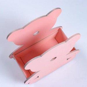 """Кашпо деревянное """"Мишка Плюшевый"""", розовый, 20?10?20 см"""