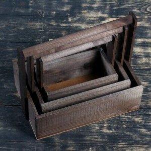 """Набор кашпо деревянных подарочных Элегант """"Классик"""", 3 в 1, с ручкой, тёмно серый"""