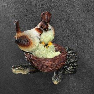 """Подвесной декор """"Гнездо с серыми птицами"""" 17х10х17см"""