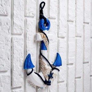 Якорь интерьерный с веревкой и звездой, бело-синий 5*23*32см