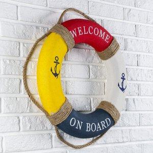 """Спасательный круг с бечевкой """"welcome on board"""", якори, 7*50*50 см, разноцветный"""