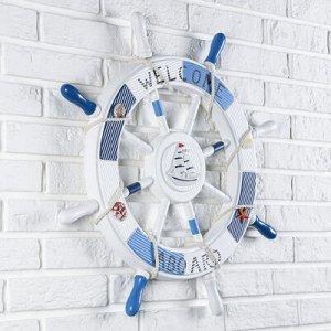 Штурвал Welcome aboard с корабликом 62*62*3,5 см