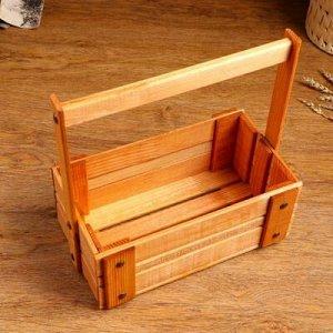 """Кашпо деревянное """"Ящик"""", 28 х 14 см, h = 28 см"""