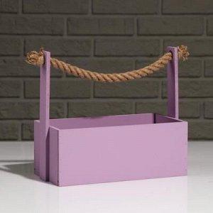 """Кашпо деревянное """"Эллада большая"""", ручка верёвка, лиловый, 25?12,5?10(23) см"""