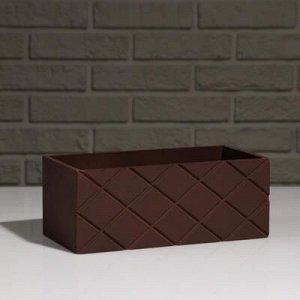 """Кашпо деревянное """"Эллада большая, сетка"""", коричневый, 25?12,5?10 см"""