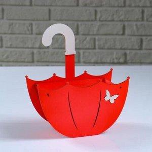"""Кашпо деревянное """"Зонтик с подвесом"""", красный, 19?9?21.5 см"""