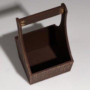 """Кашпо деревянное """"Виллиан"""", с ручкой, золотой винтаж, 16?12,5?10(28) см"""