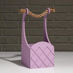 """Кашпо деревянное """"Symmetric Cell"""", ручка верёвка, лиловый, 12,5?12,5?10(28) см"""