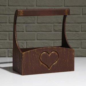 """Кашпо деревянное """"Symmetric Heart, сердце"""", с ручкой, золотой винтаж, 25?12,5?10(28) см"""