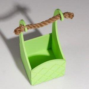 """Кашпо деревянное """"Symmetric Cell"""", ручка верёвка, зелёный , 12,5?12,5?10(28) см"""
