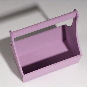 """Кашпо деревянное """"Виллиан Лонг"""", с ручкой, лиловый, 25?12,5?10(28) см"""