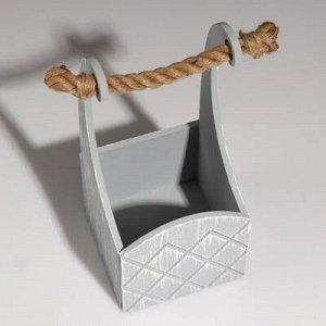 "Кашпо деревянное ""Symmetric Cell"", ручка верёвка, винтаж, 12,5?12,5?10(28) см"