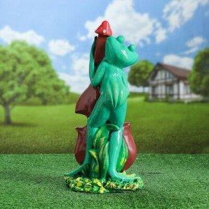 """Садовая фигура """"Лягушка с контрабасом"""", зелёный цвет, 46 см"""