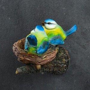 """Подвесной декор """"Гнездо с синицами"""" 15х12х12см"""