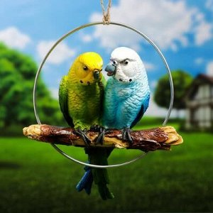"Подвесной декор ""Пара попугаев"" 18,5х6,5х22см"
