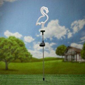 """Садовый светильник ЭРА, """"Фламинго неоновый"""", на солнечной батарее"""