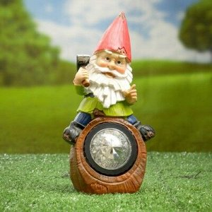 """Садовый светильник """"Гном на бревне"""" на солнечной батарее, 20,4 см"""
