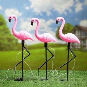 """Садовый светильник """"Фламинго стоя"""" на солнечной батарее, набор из 3 шт., 52,5 см"""
