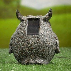 """Садовый светильник """"Филин серый"""" на солнечной батарее, 11,5 см"""
