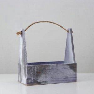 Кашпо деревянное 30?14?30 см, ручка верёвка, состаренный