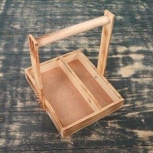 """Кашпо деревянное 25?23?4.5(25) см """"Макарунас"""", ручка (складная), экзотик"""