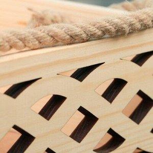 """Набор кашпо деревянных Элен """"Переплёт"""", 2 в 1, ручка шнур, натуральный"""