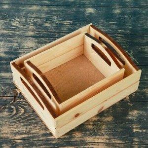 """Набор кашпо деревянных подарочных """"Эталон"""", 2 в 1, ручки вырезы боковые, натуральный"""