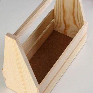 Кашпо деревянное 30?14?30 см, двухреечное прямое
