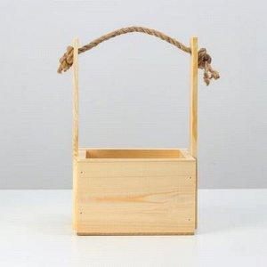 """Кашпо деревянное, 15?12?8(25) см """"Цветник"""", ручка верёвка, гравировка"""