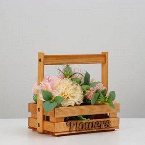 "Кашпо деревянное ""Flowers"", 23 х 14 см, h = 23 см"