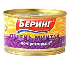 Беринг- Печень минтая по-приморски 210гх48  с/к ж/б