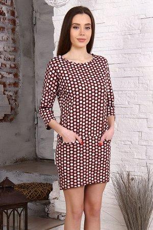 Платье Бренд Натали. Ткань: кулирка  Состав: 100% хлопок  Платье с удлиненной спинкой. Рукав длиной 3/4 на спущенном плече. На полочке 2 кармана