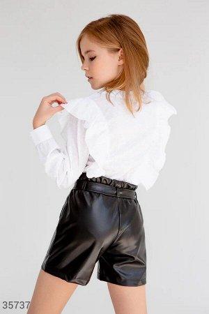 Стильные кожаные шорты с высокой талией