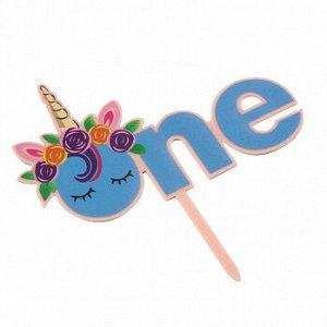 """Топпер """"One, единорог с цветами"""" голубой 8,5*14 см"""