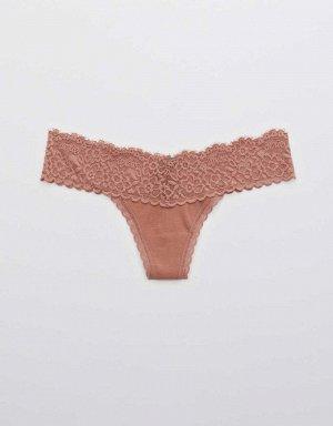 Aerie Cotton Eyelash Lace Thong Underwear