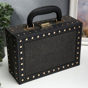 "Шкатулка кожзам для украшений чемодан ""С заклёпками"" чёрная 9,5х25х17,5 см"