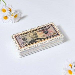 Шкатулка - купюрница «50$», белая, 8,5?17 см, лаковая миниатюра