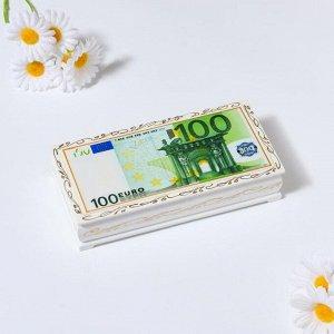 Шкатулка - купюрница «100 евро», белая, 8,5?17 см, лаковая миниатюра