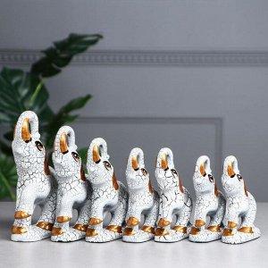 """Набор статуэток """"Слоны"""", кракелюр, белый, 7 предметов, керамика"""