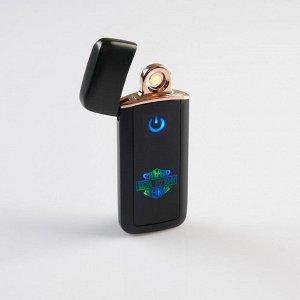 """Зажигалка электронная, спиральная, """"Сильный крепкий 100 % Мужик"""", чёрная 3х7.3 см . USB"""