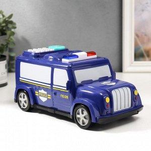 """Копилка пластик для монет и купюр """"Автомобиль полиция"""" отпечаток пальца 12х27х13 см"""