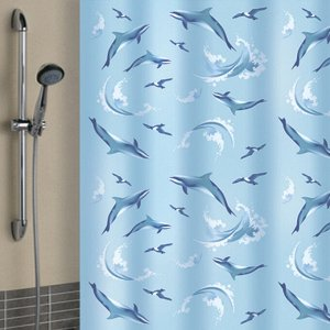 """Штора для ванной """"Дельфины"""" 180х180см 5918"""