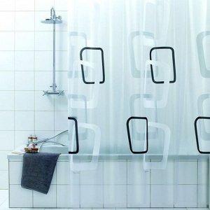 """Штора для ванной """"Quadry nero"""" 180х200см 3509"""