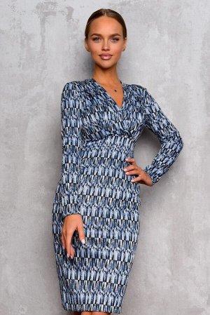 Платье Размер: 42 / 44 / 46 / 48 Элегантное платье с запахом беспроигрышный вариант для любой фигуры.Модель акцентирует внимание на плечи и зону декольте. V-образный вырез и длинный рукав шикарно смо