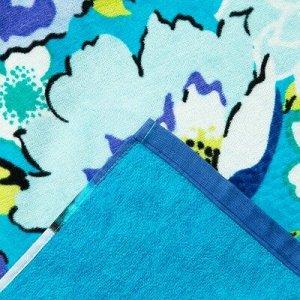 Полотенце пляжное велюровое Bradley 80х170 см, синий, хлопок 100%, 500 г/м2