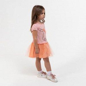 Платье для девочки, цвет коралловый, рост 122 см
