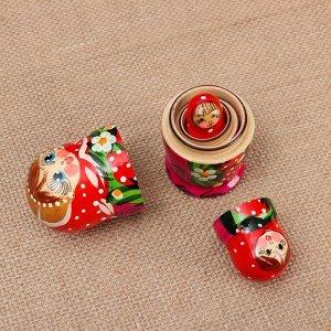 """Матрёшка 3-х кукольная """"Катя"""" ягоды, 11см, ручная роспись."""
