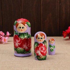 """Матрёшка 3-х кукольная """"Розы"""" сиреневый платок, 11см, ручная роспись."""