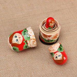 """Матрёшка 3-х кукольная """"Розы"""" красный платок, 11см, ручная роспись."""